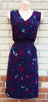 TU PURPLE BLUE FLORAL V NECK SLEEVELESS A LINE RARE SUMMER TEA DRESS 18