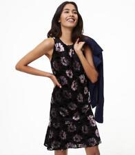 Ann Taylor Loft Iced Floral Velvet Swing Dress Sz XS Black Gray Pink 12