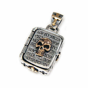 SKULL CROSS PILL CONTAINER 925 STERLING SILVER & PINK GOLD PLATED PENDANT jo-074