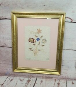 Rare Vintage Wildflower's 95 Handmade Paper Pressed Real Flowers Signed Picture