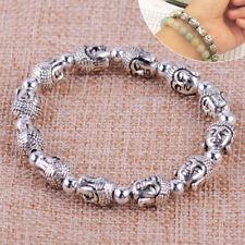 Lava Stein Silber Buddha Perlen Charm Armband Bracelet Antik Silber Beads Chakra