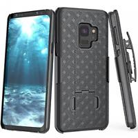SAMSUNG GALAXY S9 - COMBO SHELL CASE KICK-STAND SWIVEL BELT CLIP HOLSTER COVER