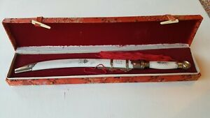 Engraved Antique Chinese Mini Letter Opener-Sword W/Presentation Case - Must See