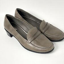 feb4a08a780 Ecco Women s Loafers Block Heels Shoes Leather Taupe Size EU 38 US 7 - 7.5