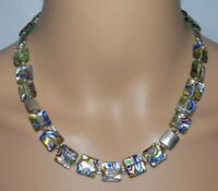Halskette Kette Glas Lampwork Silberfolie Murano Art multicolor mehrfarbig  370m