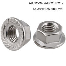 Flanged Nuts To Fit Metric Bolts/Screws A2 Stainless Steel M4 M5 M6 M8 M10 M12