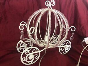 Pottery Barn Kids Princess Beaded Cinderella Carriage Table Lamp NLA EUC