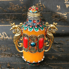 An Exquisite Chinese Handmade Double Phoenix Inlaid Copper Snuff Bottle