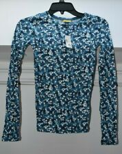 New Women's Aeropostale Prince & Fox Blue Floral Spring Long Sleeve Shirt Top XS