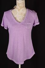 Style&Co. Womens Small Loose Fit Purple Basic Tee T-Shirt Short Sleeve Pocket