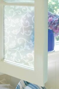 """TAPESTRY Etched Glass Window Film 24"""" x 36"""" Static Cling White Door Decor"""