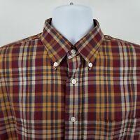 Jos A Bank 1905 Mens Brown Red Plaid Check L/S Dress Button Shirt Sz Large L