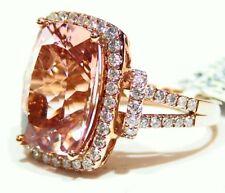 10.97CT 14K Gold Natural Morganite White Diamond Vintage Halo Engagement Ring