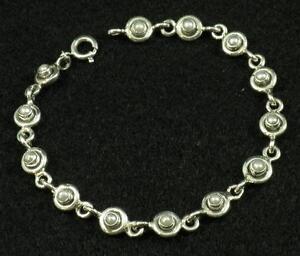 "Vintage Style .925 Sterling Silver round Petite Pearl Gemstone Bracelet 7 1/4"""