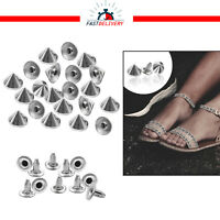 100pcs Silver Punk Studs 10mm Cone Spikes Rivets 100pcs for Bags Leathercrafts