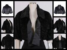 $99 Marina Black Faux Fur Tie Front Collar Evening Bolero Shrug Jacket ~ L M3020