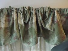 Country Curtains patchwork floral Valance sage green Curved Rod Pocket 2 Availab