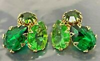 Vintage Juliana Green Rhinestone Gold  tone Clip Earrings
