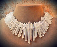 ICICLE GEMSTONES! FROSTED SUGARY RAW QUARTZ HUGE NECKLACE BIG JEWELRY USA MADE