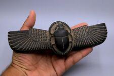 Egyptian Winged Scarab Antiques Beetle Khepri Hieroglyphic Egypt Black Stone Bc