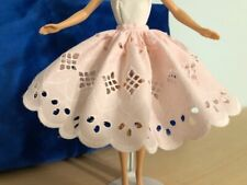 BARBIE DOLL CLOTHES - EXTRA FULL SKIRT -  PINK EYELET COTTON BROADCLOTH