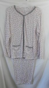 IVORY RED GRAY LONG SLEEVE TOP LONG PANTS  PAJAMAS NIGHTGOWN 3X
