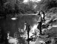 """1907 Four Boys Fishing Philadelphia Pennsylvania Old Photo 8.5"""" x 11"""" Reprint"""