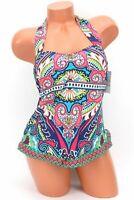 24th & Ocean Bermuda Maze Printed Retro Halter Swimsuit Top Size Small NWT