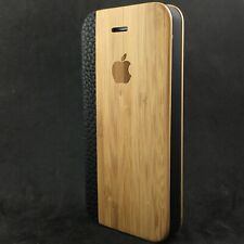 iPhone SE 5/5s Bamboo Wood Flip Case Cover & Kick Stand 100% Wood✔100% Leather✔️