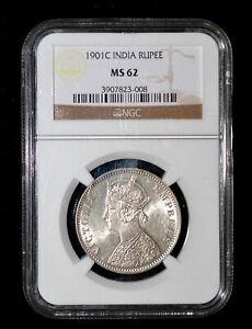 NGC MS62 1901 (C) British India Queen Victoria silver 1 Rupee, Calcutta  Mint