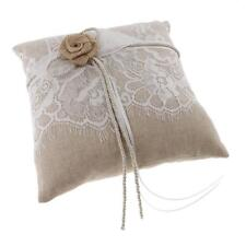 Vintage Hessian Lace Ring Pillow Ring Bearer Wedding Party Supplies