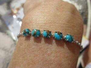 Blue Turquoise Bolo Bracelet/2.65 tcw/5X5mm/Platinum/Stainless/adjustable/NICE