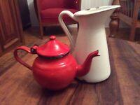 "Small French Vintage Water Pitcher 7"" Tea Pot 5"" enamel Enamelware Graniteware"