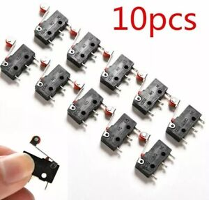 10x Mini Micro Momentary Limit Switch Roller Lever Arm SPDT 250AC 5A 3-Pin KW12