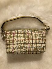 Authentic COACH Heritage Tattersal Gold Graffiti Small Tote Bag
