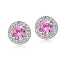 Sterling Silver 1.2ct Pink Topaz & White Topaz 5mm Halo Stud Earrings