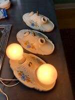 Set of 3 Ceramic/Porcelain 1920s-1930s 2 bulb fixture, new wiring, orig. paint!