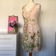 Oasis Blush Pink Floral Dress Size 10 Summer Wedding Races Party z4