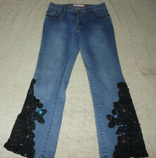 SASSY THAI DENIM Stretch JEANS EMBROIDERED EMBELLISHED JEWELED WOMEN 6 LACE