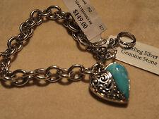 "Sterling Charm Bracelet W/ Filigree Heart Toggle Clasp Adjustable 7"" - 7 3/4"""