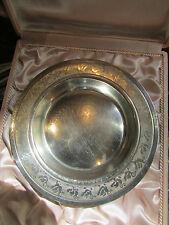 ancienne assiette de bébé metal argenté poinconné ep 1950 decor canards coffret