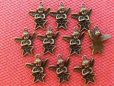 10 Engel Anhänger Charms Farbe bronze #S363