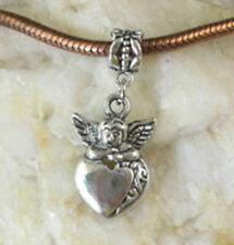 30PCS Tibetan Silver Angel Heart dangle For Charm Bracelet W8104
