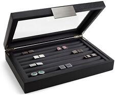 Glenor Co Cufflink Box for Men, Holds 70 Cufflinks, Metal Buckle Large Glass Top