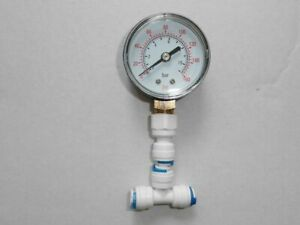 """water Pressure Gauge for Reverse Osmosis Systems with 1/4"""" connection"""