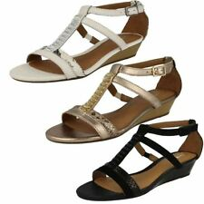 Clarks Women's Synthetic Leather Wedge Sandals & Beach Shoes