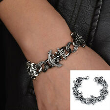 Fashion Rock Punk Mens Bangle Stainless Steel Skull Anchor Bracelet Jewelry Gift