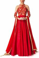 Indian Stylish Designer Bollywood Party Wear Red Gown Anarkali Salwar Suit Dress