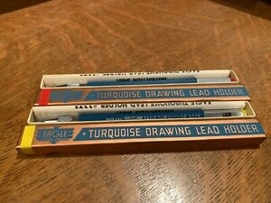 2- EAGLE Turquoise 3375 Drawing Lead Holder Pencil New Old Stock Box & Inst.