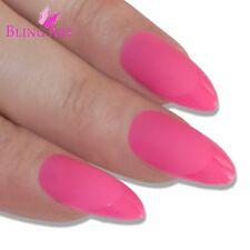False Nails Matte Pink 24 Fake Almond Bling Art Stiletto Long  Tips with 2g Glue